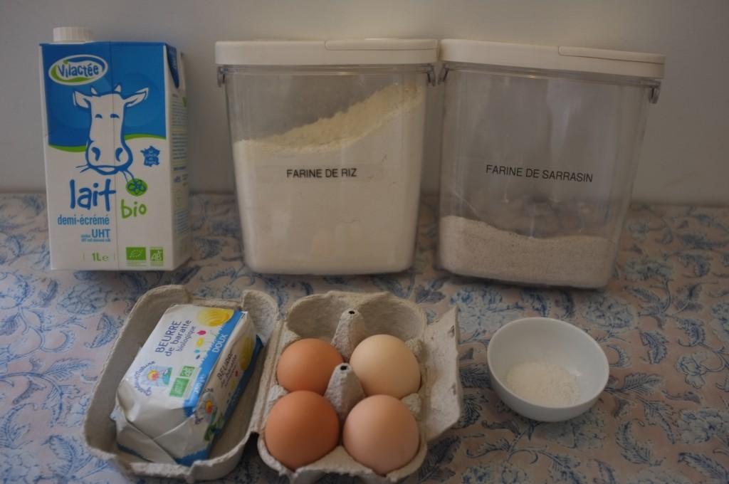 ingrédients pour crêpe sans gluten au sarrasin