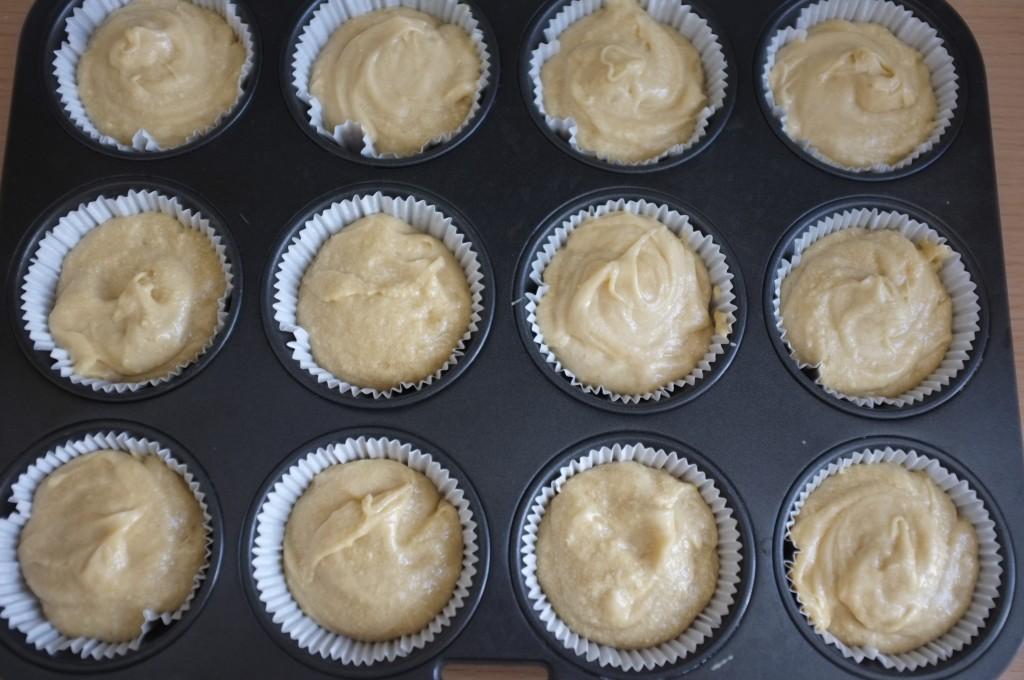 les cupcakes sans gluten avant d'aller au four