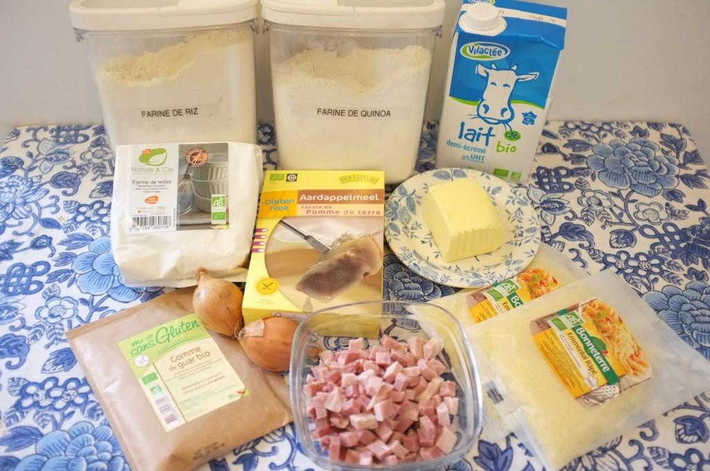 voici les ingrédients pour la pâte ET la garniture de la Quiche.