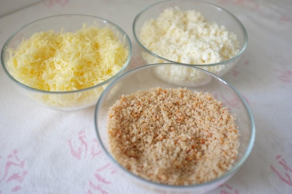 cheddar et mozzarella râpés et chapelure sans gluten