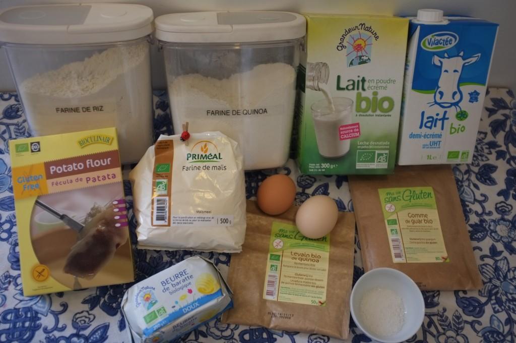 ingrédients pour le pain au lait sans gluten