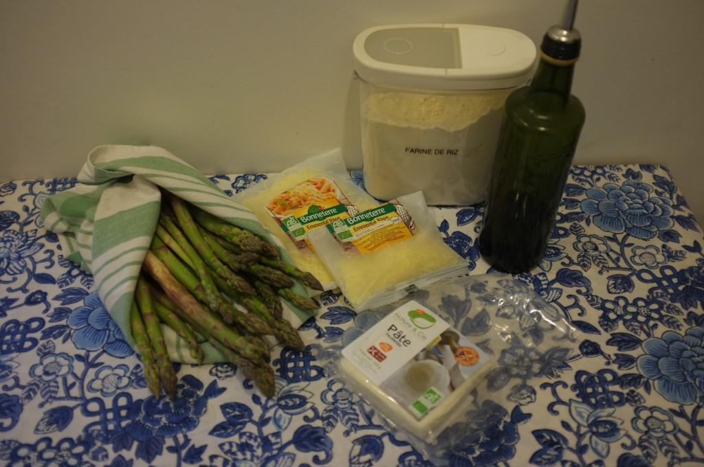 Les ingrédients nécessaires à la préparation de la tarte aux asperges sans gluten