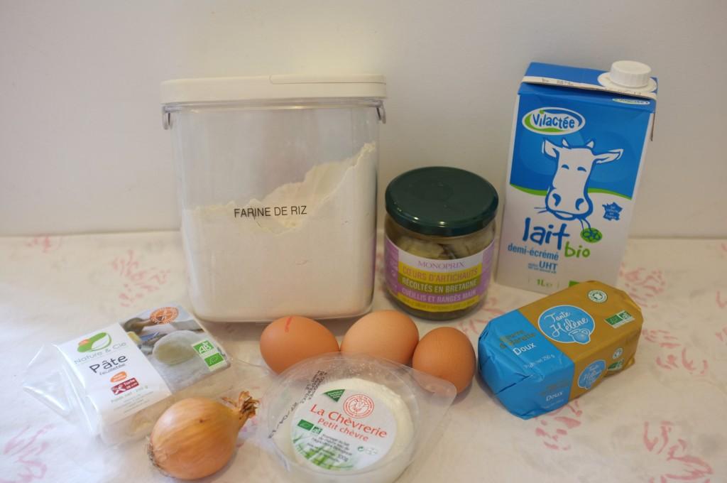ingrédients pour la tarte sans gluten aux coeurs d'artichauts et fromage de chèvre