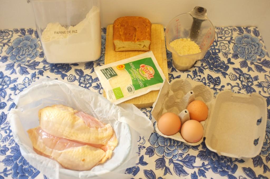 ingrédients pour les nuggets de poulet sans gluten