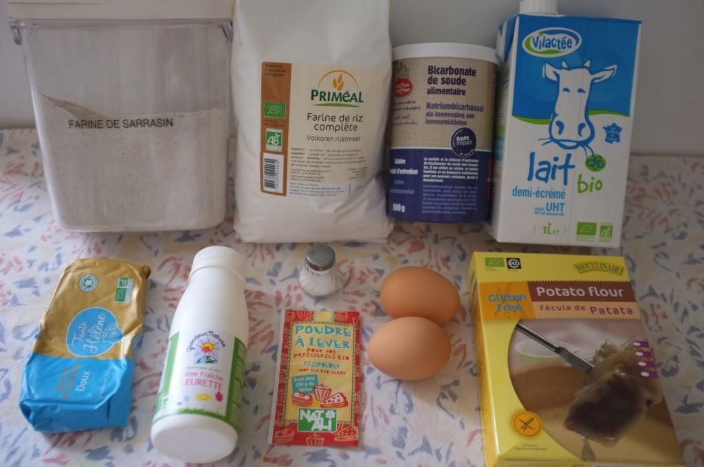 Ingrédeints pour Blinis sans gluten