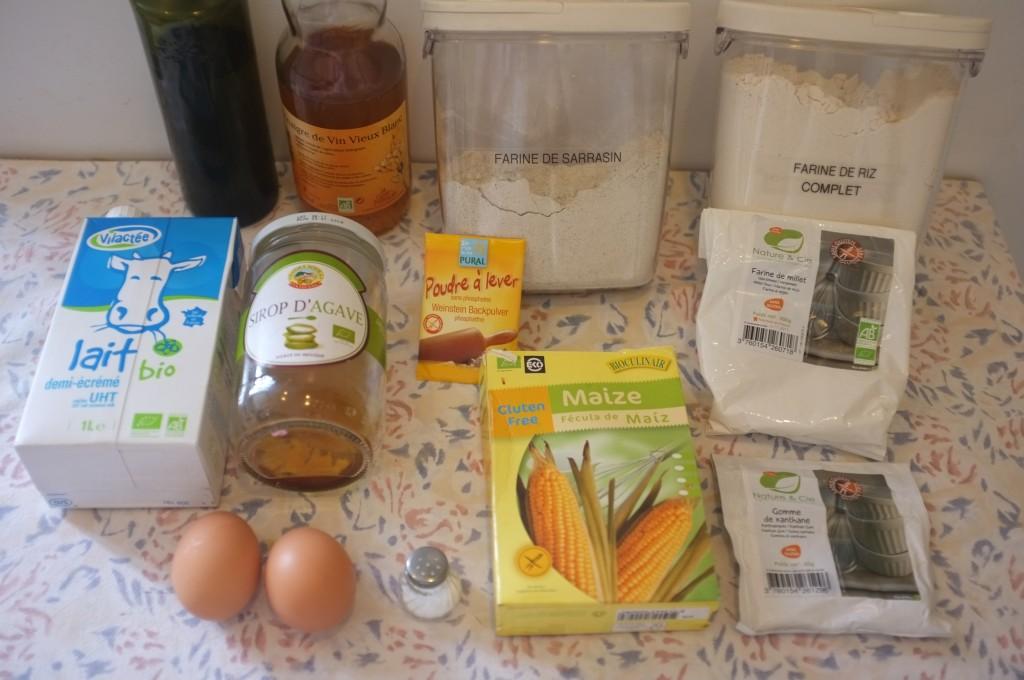 Ingrédients pour les tortillas sans gluten