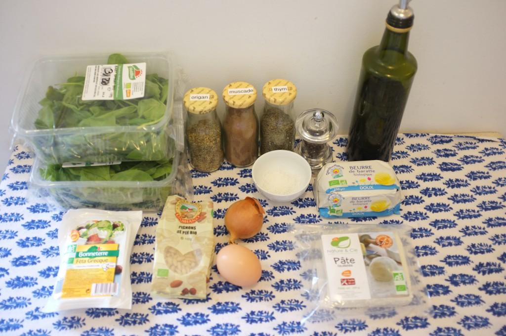 """Les ingrédients pour la """"Spanakopia"""" sans gluten"""