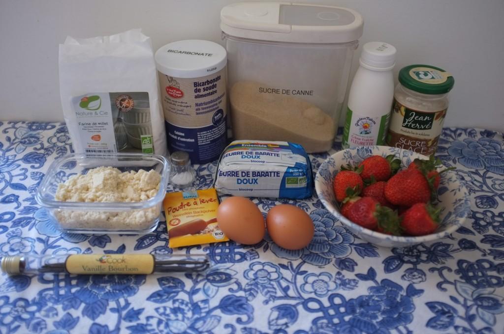 Les Ingrédients pour le gâteau amande-millet aux fraises