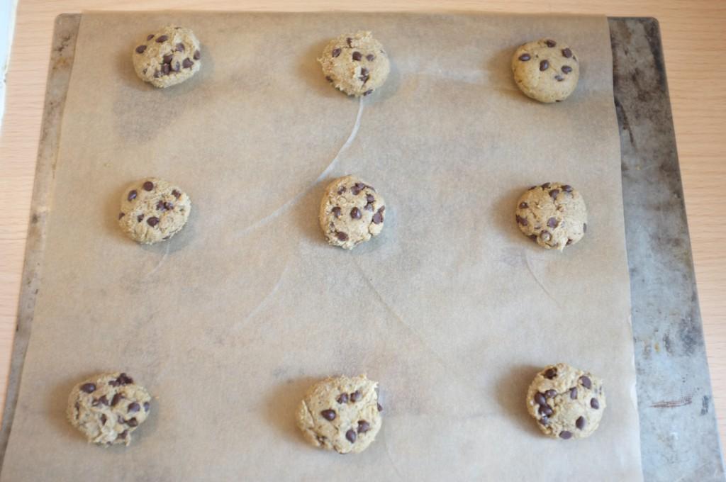 Les petits cookies avant d'être enfournés