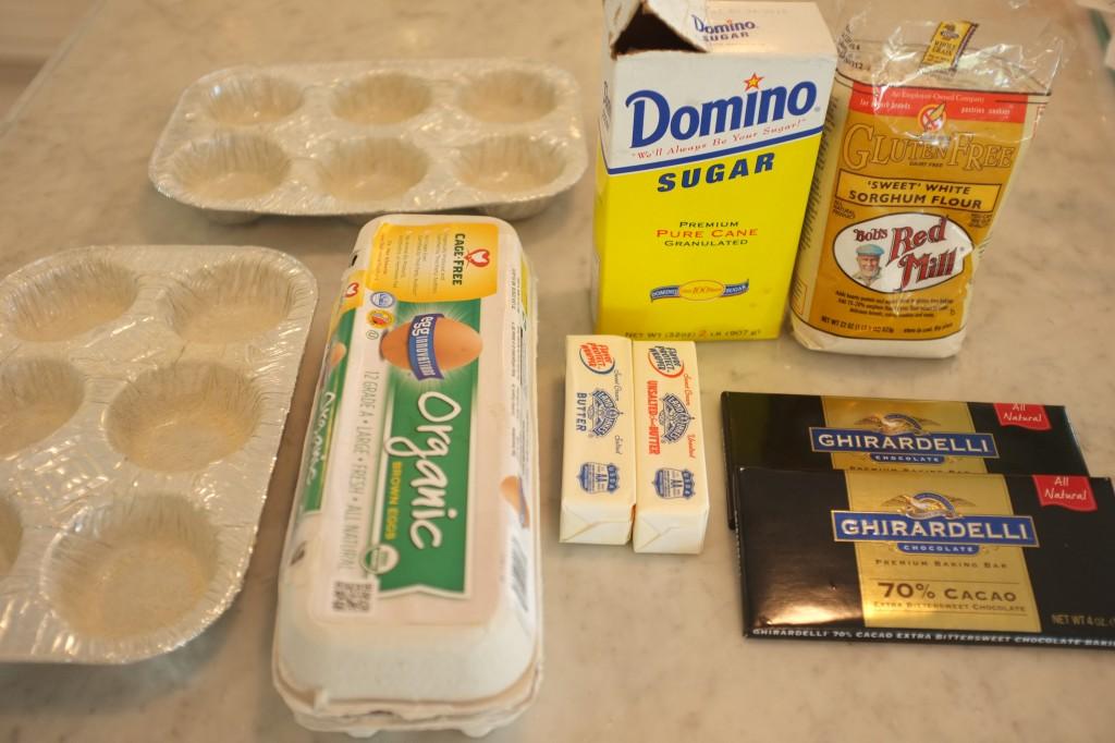 les ingrédients pour le fondant au chocolat de Domingo