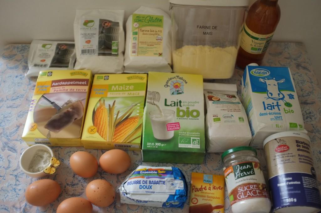 Les ingrédients pour les petits pains de petit déjeuner