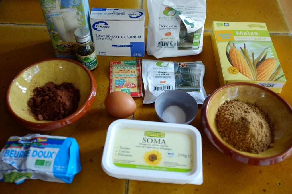 Les ingrédients sans gluten pour les biscuits whoopie au chocolat