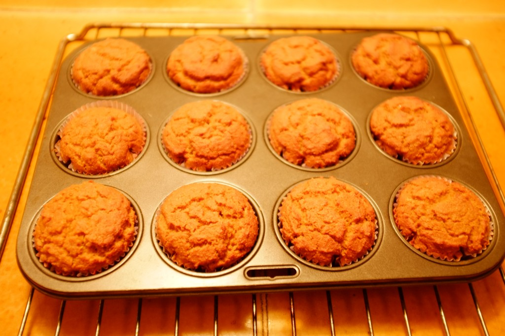 Les muffins au potiron à la sortie du four