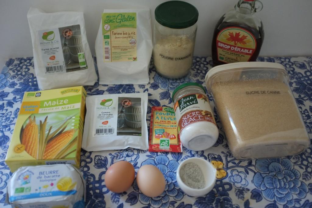 Les ingrédients pour les biscuits au sirop d'érable