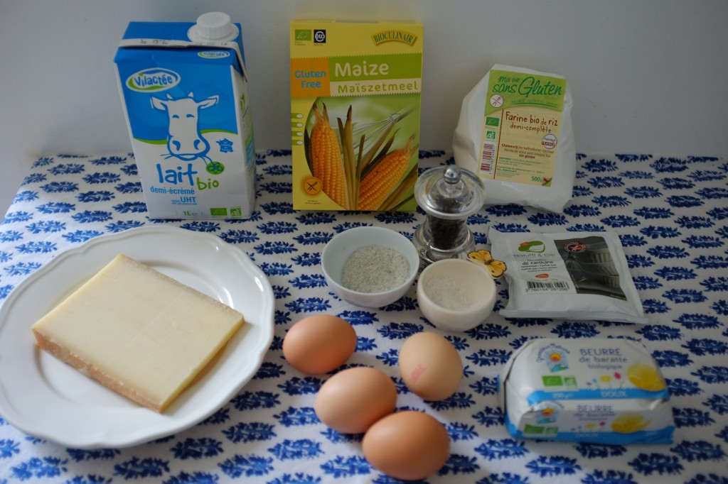 Les ingrédients pour les gougères sans gluten au fromage