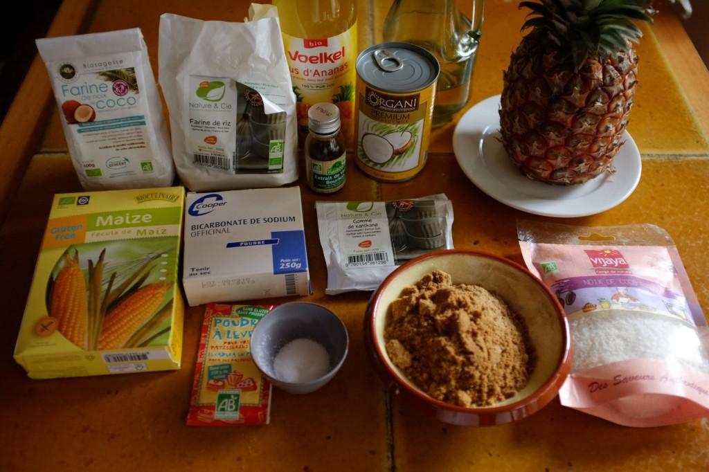 Les ingrédients pour les muffins ananas et noix de coco