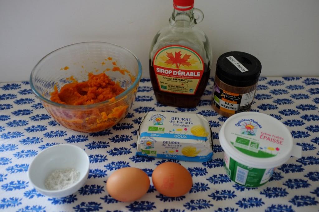 """Les ingrédients pour la tarte  sans gluten au potiron et sirop d'érable """"Thanksgiving"""""""