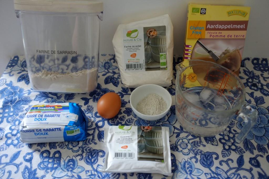 Les ingrédients pour le pâte à tarte sans gluten au sarrasin
