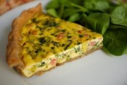 recette sans gluten de quiche sarrasin aux poireau, épinard et lardon