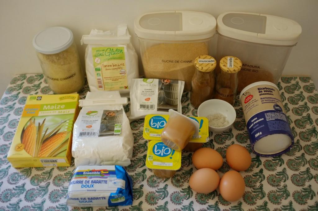 Les ingrédients pour les muffins sans gluten à la compote de pomme et cannelle