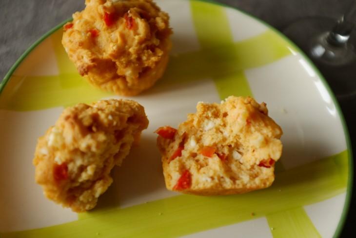 recette sans gluten de muffins féta et poivron rouge