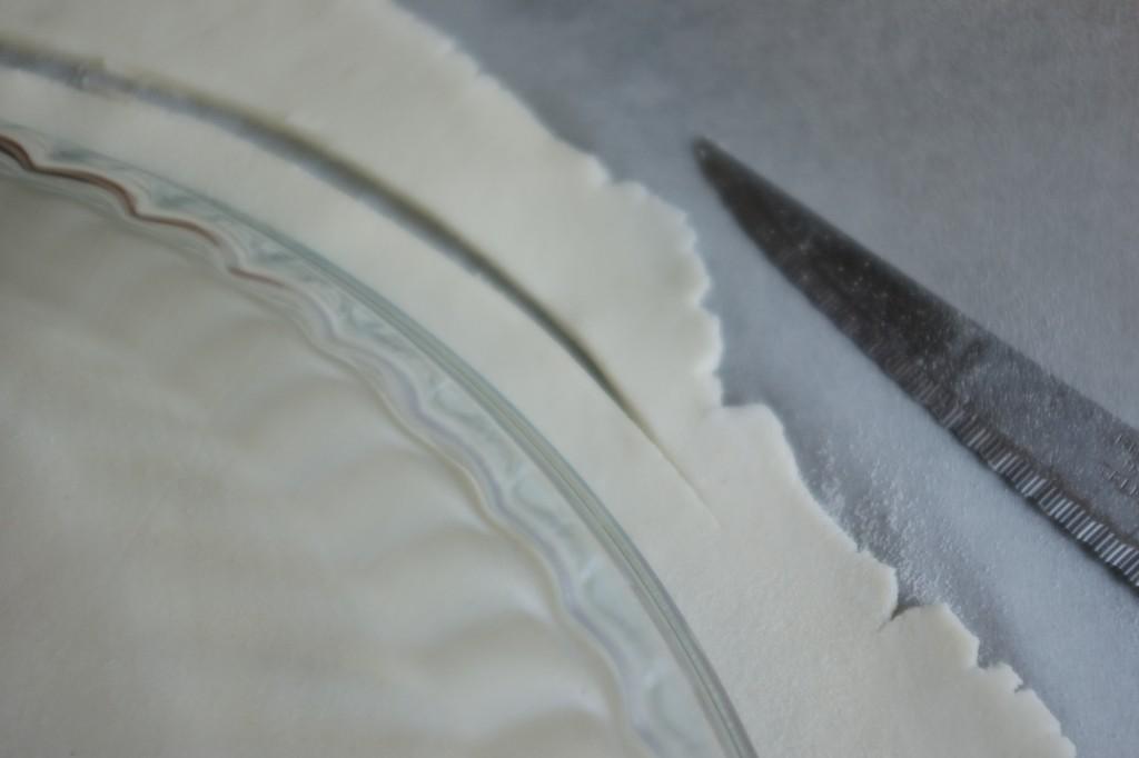 Je découpe le contour du plat en laissant 1 cm de plus au bord.
