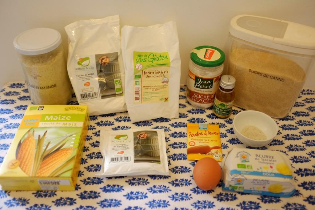 """Les ingrédients sans gluten pour les biscuits """"marguerite"""""""