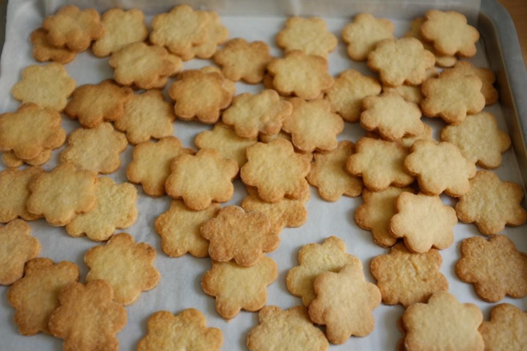 """Les biscuits sans gluten """"marguerite"""" en vrac avant d'être glaçés"""