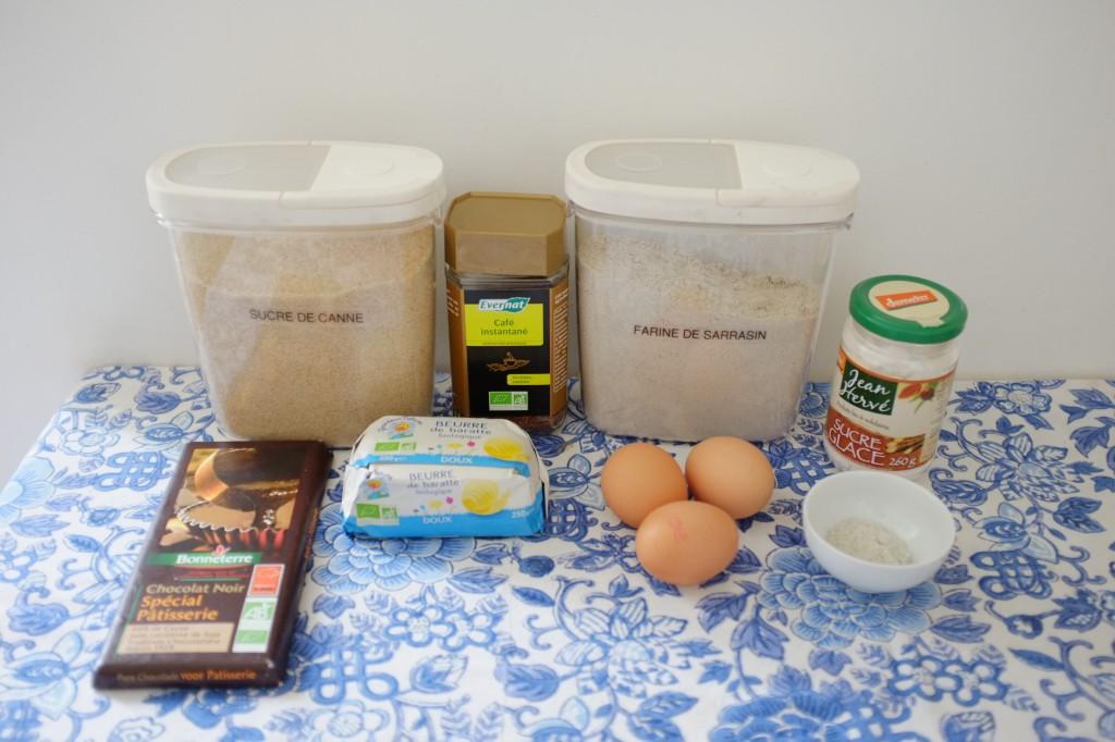 Les ingrédients sans gluten pour les fondants expresso-chocolat