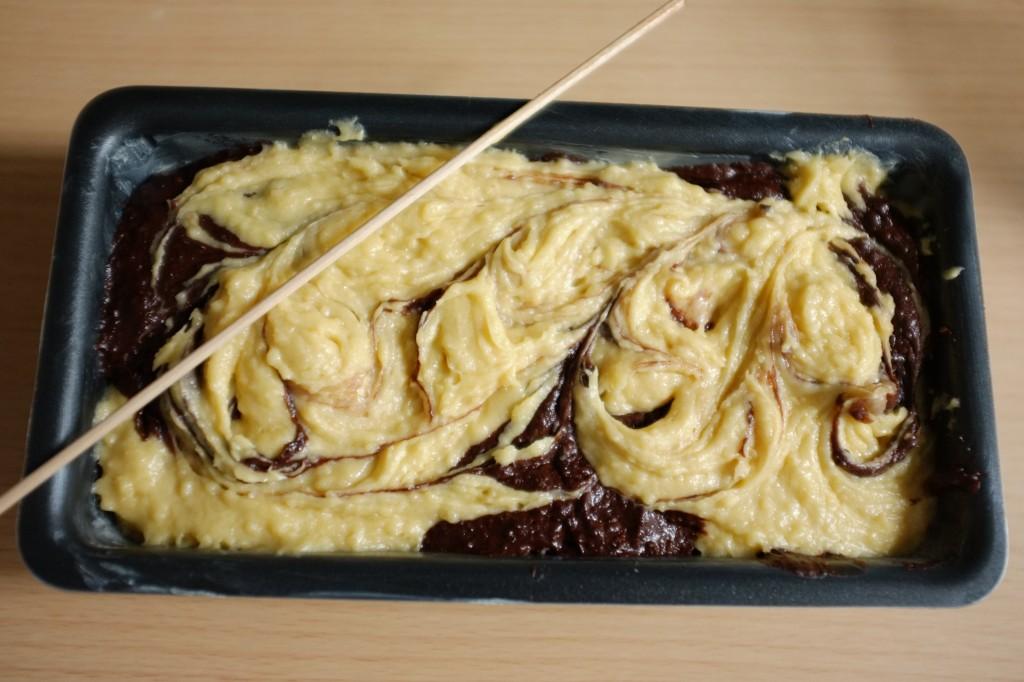 Voici le cake margé sans gluten au chocolat avant d'être enfourné