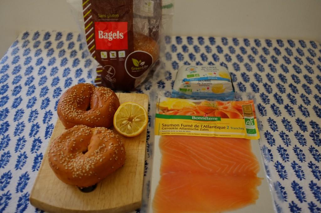 Les ingrédients sans gluten pour mon bagel au saumon