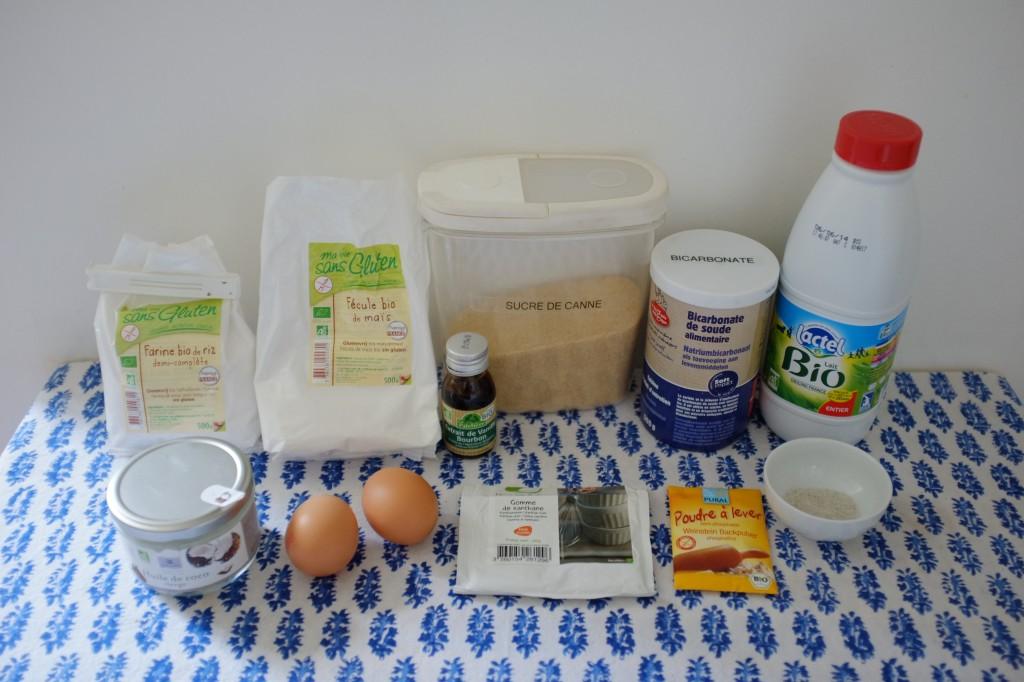 Les ingrédients sans gluten pour les cupcakes vanille pour Nine