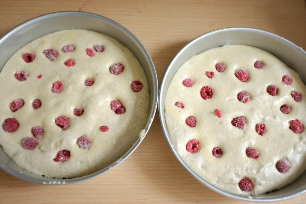 Les gâteau à la framboise avant d'être enfournés