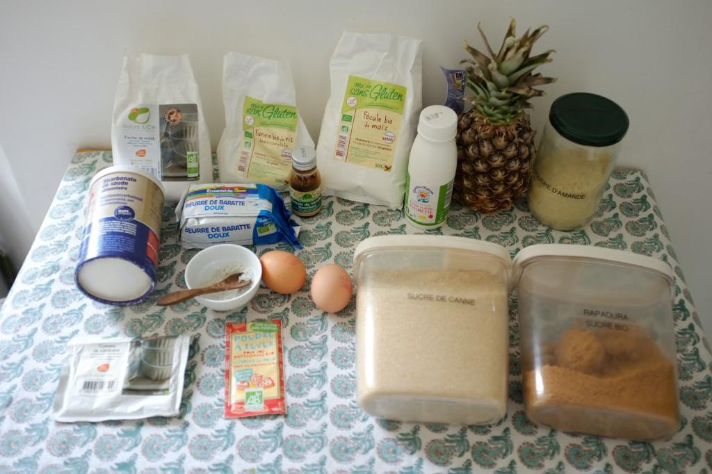 Les ingrédeints sans gluten pour le gâteau renversé à l'ananas