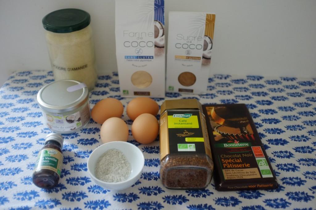 Les ingrédients pour le Brownie fondant au moka, régime Paléo