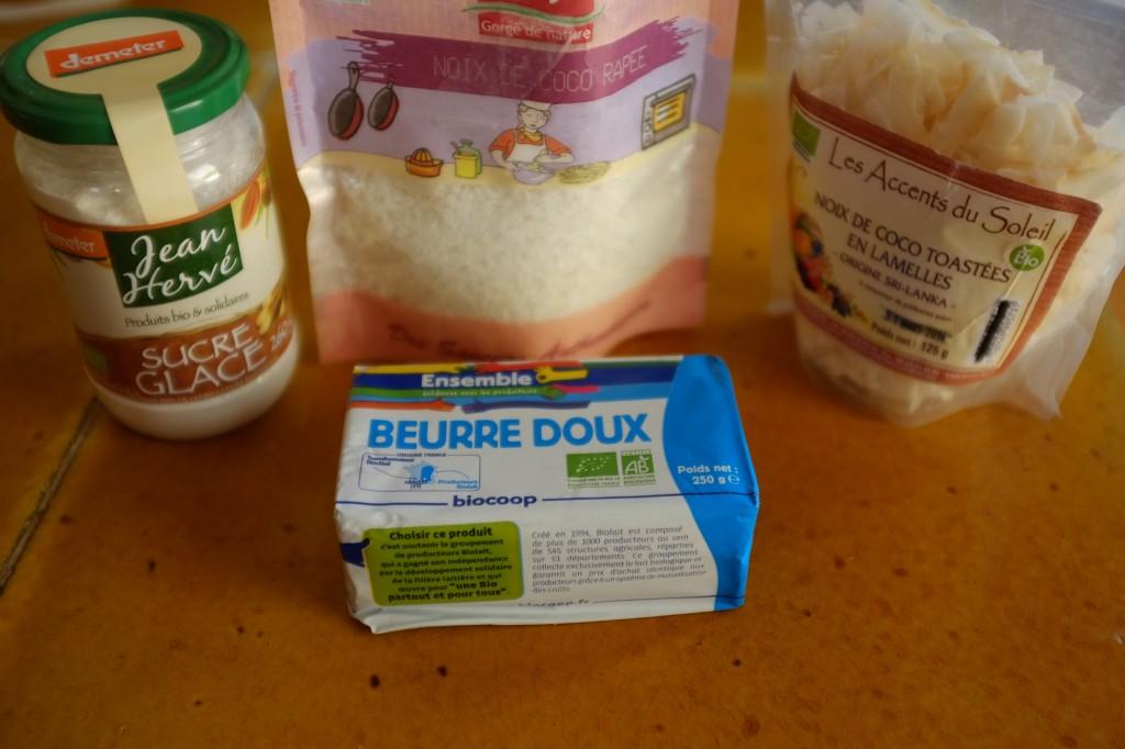 Les ingrédients pour la crème au beurre à la noix de coco