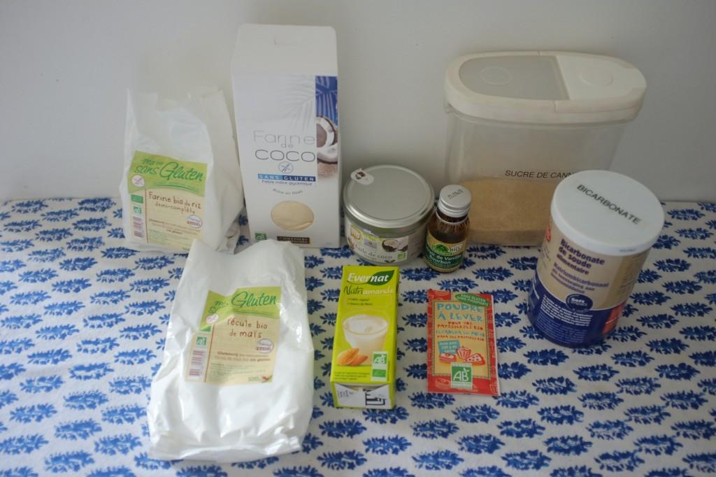 Les ingrédients pour les cookies sans gluten à la noix de coco