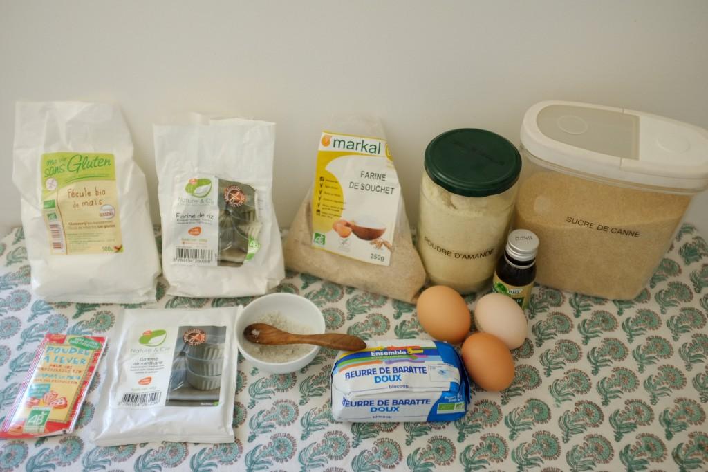Les ingrédients sans gluten pour les madeleines à la farine de Souchet