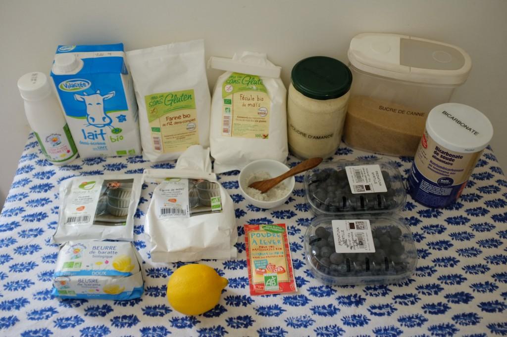 Les ingrédients sans gluten pour les scones aux myrtilles