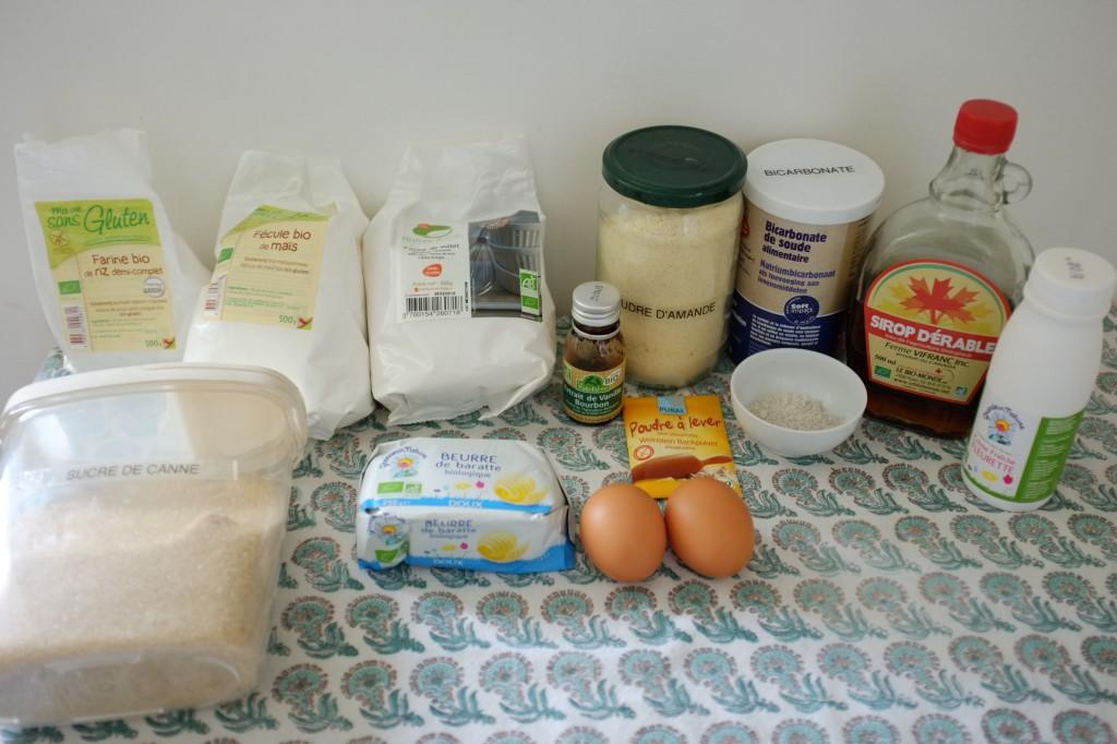 Les ingrédients sans gluten pour le gâteau aux sirop d'érable