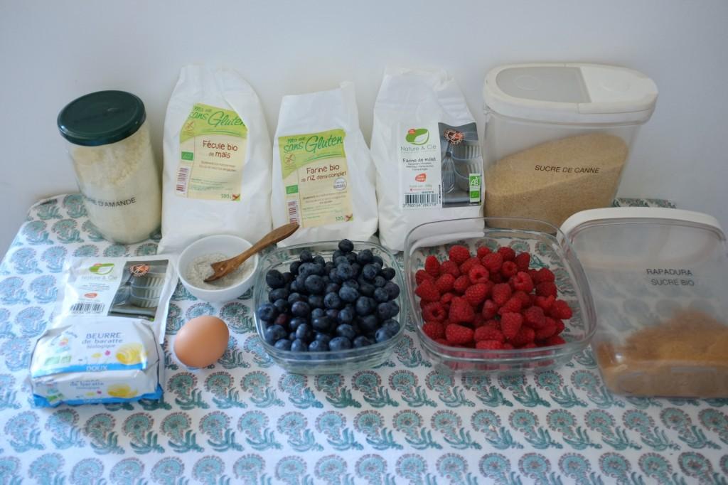 Les ingrédients sans gluten pour ma tarte bleu, blanc, rouge