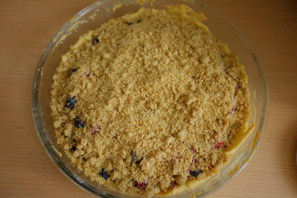 La tarte bleu, blanc, rouge sans gluten avant être enfournée