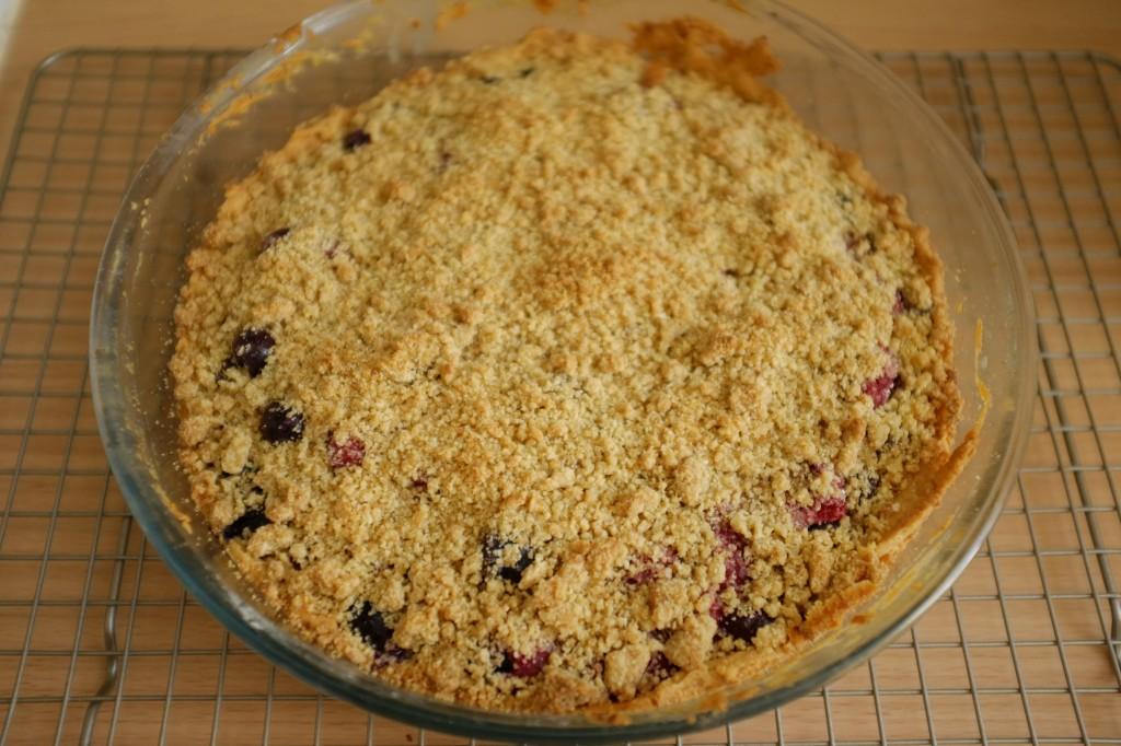 La tarte sans gluten bleu, blanc,rouge à la sortie du four