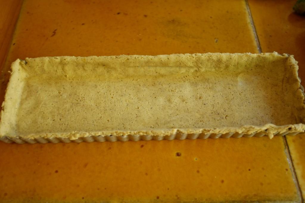La pâte sans gluten avant d'être enfournée