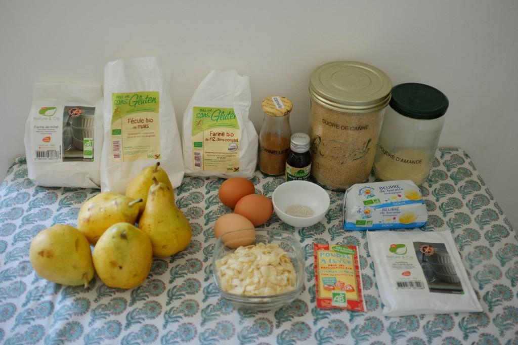 Les ingrédients sans gluten pour le gâteau poire et amande