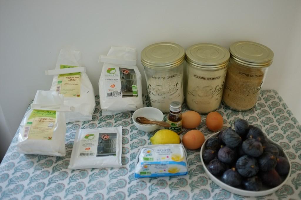 les ingrdéients sans gluten pour la tarte aux figues fraiches
