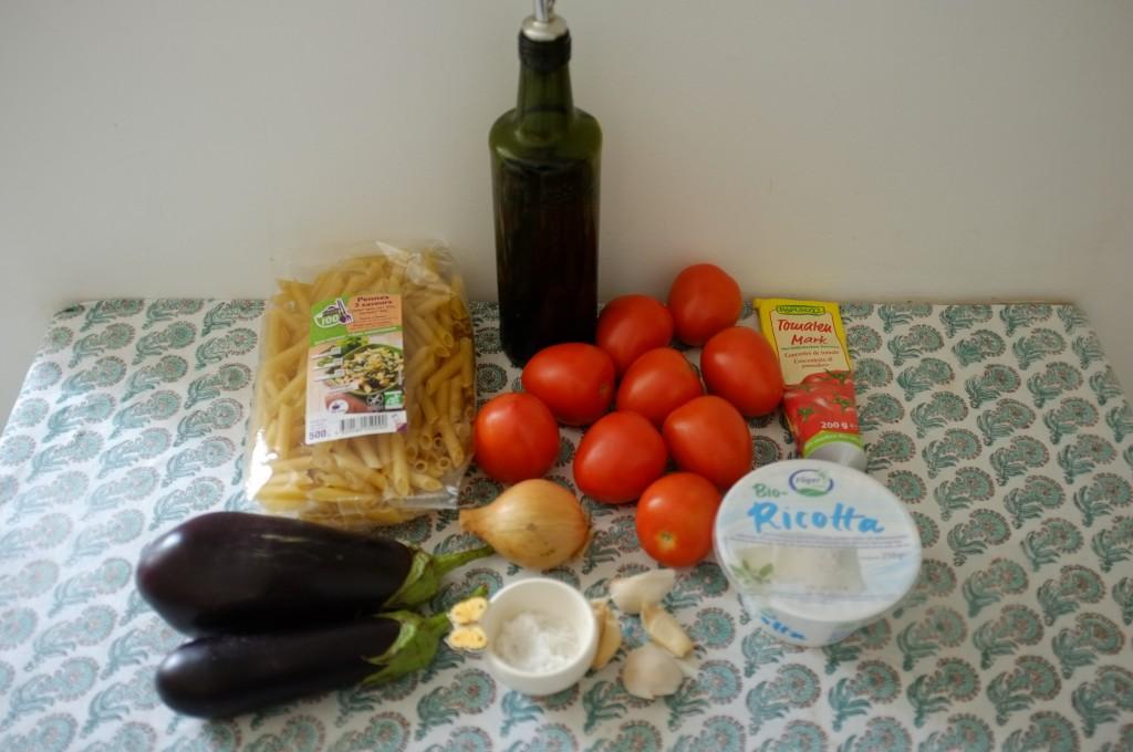 Les ingrédients sans gluten pour les Pennes 3 saveurs à la Norma