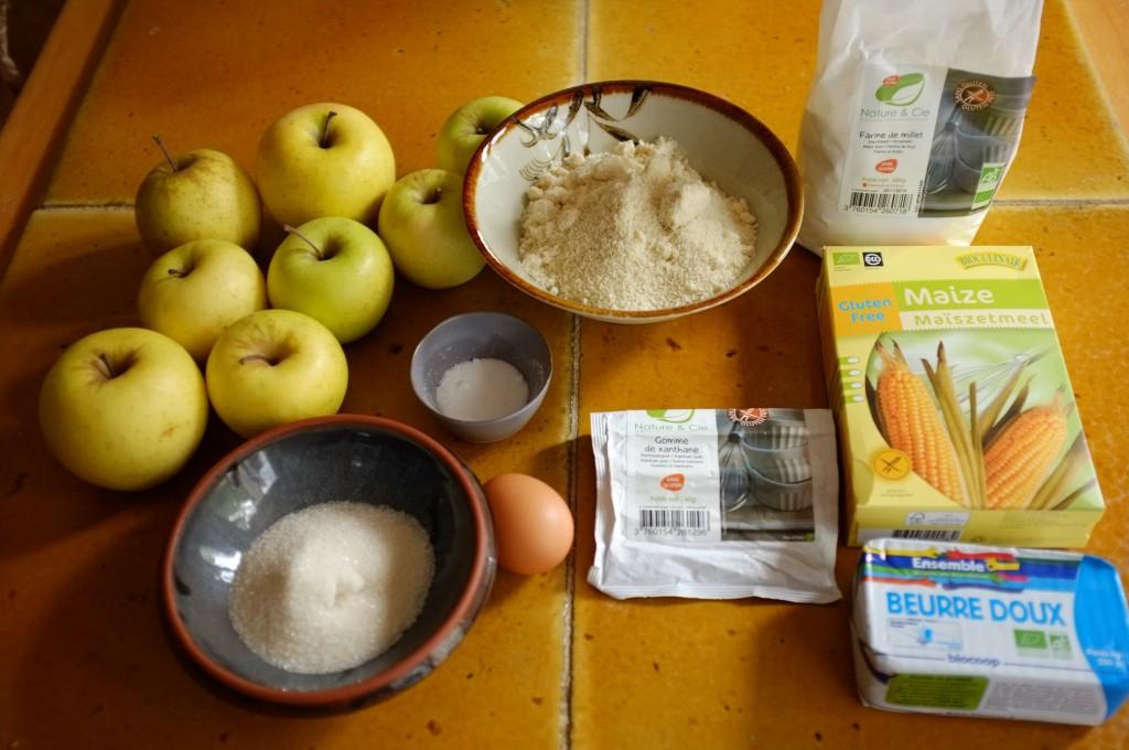 Les ingrédients sans gluten pour la tarte rustique aux pommes