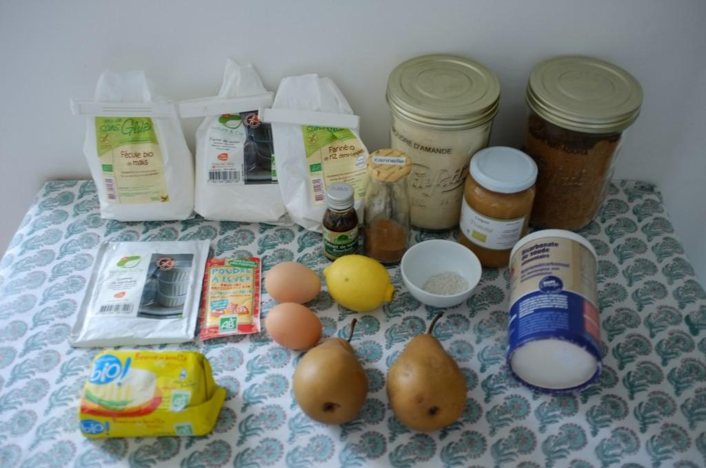 Les ingrédients sans gluten pour les muffins poire et citron