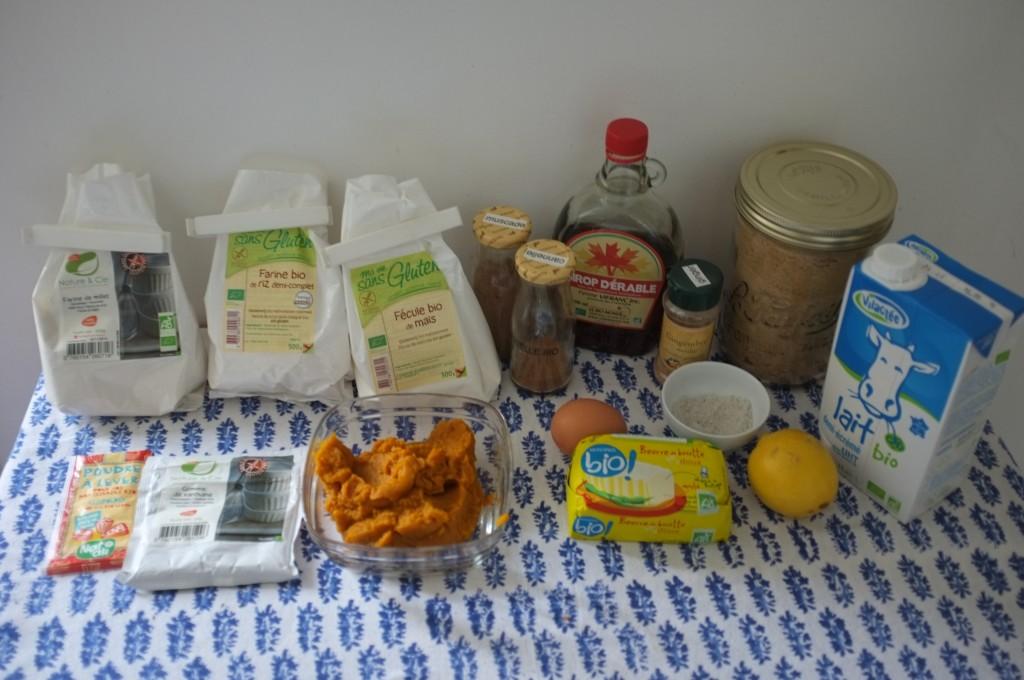 les ingrédients sans gluten pour les scones au potiron et au sirop d'érable